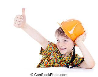 Little boy with helmet