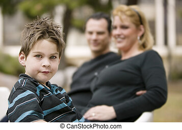 Little Boy with his Mom and Dad