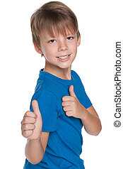 Little boy with his thumbs up
