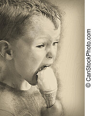 Little boy with ice cream, pencil drawing