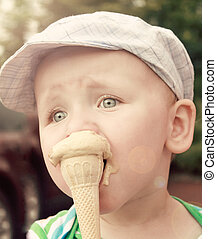 little boy with ice cream