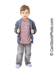 little boy with jacket and shirt