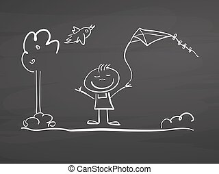 Little boy with kite and bird sketch on chalkboard