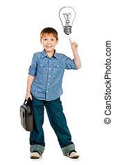 little boy with light bulb