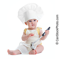 Little boy with metal ladle and cook hat isolated