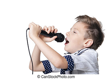 Little boy with microphone on white background