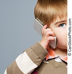 Little boy with mobile phone - Little boy with mobile phone...