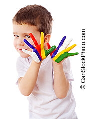 Little boy with painted hands