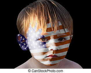 Little boy with painted USA flag.