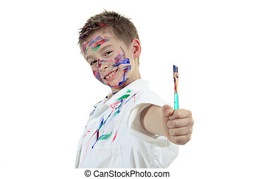 little boy with painting face over white background