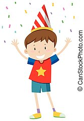 Little boy with party hat illustration