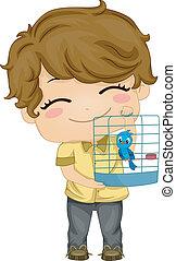 Little Boy with Pet Bird