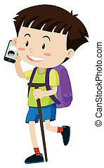 Little boy with purple backpack talking on phone...