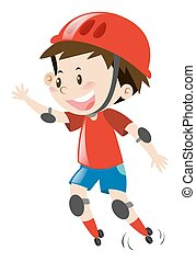 Little boy with red helmet rollerskating illustration