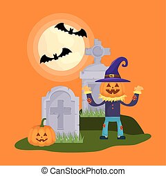 little boy with scarecrow pumpkin disguise in cemetery