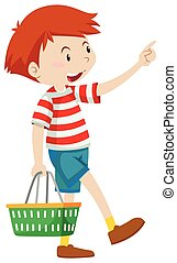 Little boy with shopping basket