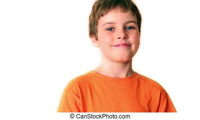Little boy with slingshot isolated
