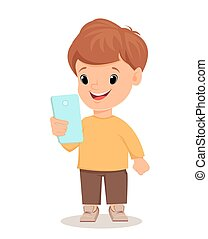 Little boy with smartphone.