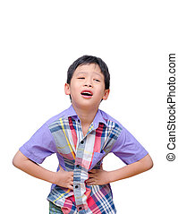 Little boy with stomachache isolated on white background