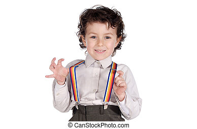 Little boy with suspenders