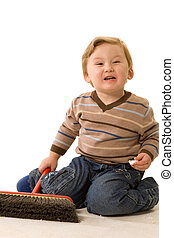boy with swab - little boy with swab on white background
