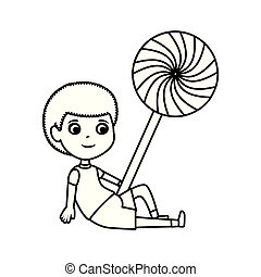 little boy with sweet lollipop candy vector illustration ...