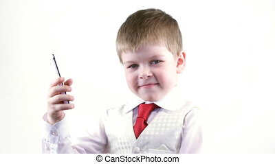 Little boy with telephone