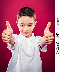 Little Boy with Thumbs Up