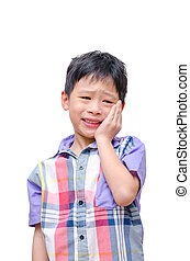 Little boy with toothache isolated on white background