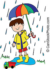 Large childlike cartoon character: little boy with a big smile holding an umbrella and playing in the rain by stepping into a puddle with his truck