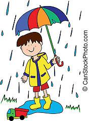 Little boy with umbrella - Large childlike cartoon...
