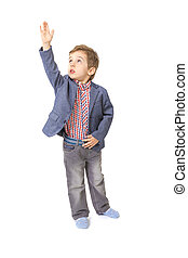 little boy with with his hand lifted up