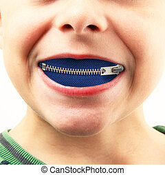 little boy with zipper in mouth