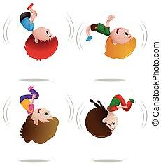 Little boys and girls flipping illustration