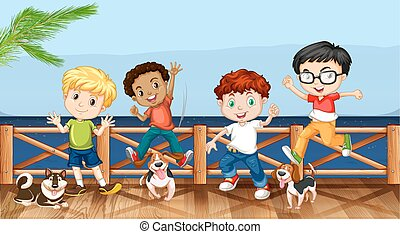 Little boys and their pet dogs illustration