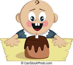 Little boy's birthday surprise - A cute little baby boy is...