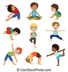 Little Boys Doing Yoga Set Of Bright Color Cartoon Childish...