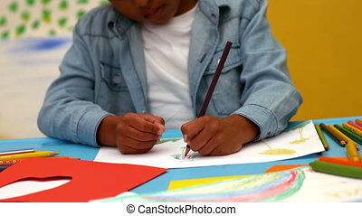 Little boys drawing at table - Cute little boys drawing at...