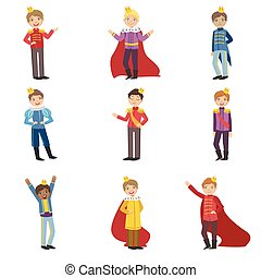 Little Boys Dressed As Fairy Tale Princes Set Of Cute Flat ...