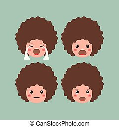 little boys emoticon set kawaii characters vector...