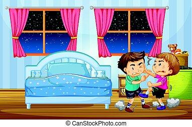 Little boys fighting in bedroom illustration