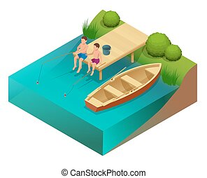 Little boys fishing in a river. Sitting on a wood pontoon. Flat 3d vector isometric illustration