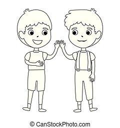 little boys friends characters vector illustration design