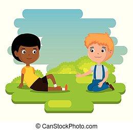 little boys happy characters vector illustration design