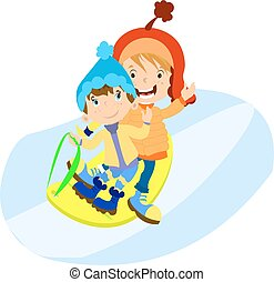 Little boys in winter clothes play. Vector illustration