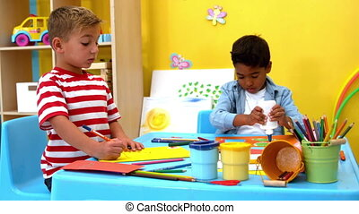 Little boys making art together - Cute little boys making...