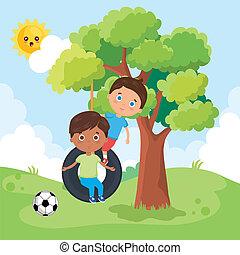 little boys playing on the park vector illustration design