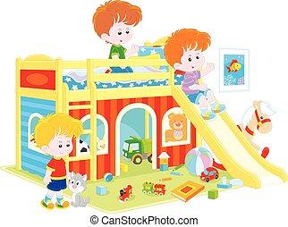 Little boys playing - Vector illustration of children...