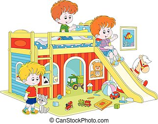 Little boys playing - Vector illustration of children ...