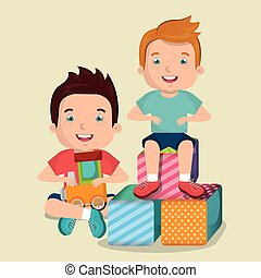 little boys playing with toys characters vector illustration...